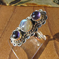 Premium Ring Silver Jewelry with Amethyst and Moonstone 18-1-1