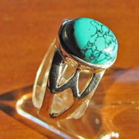 Indian turquoise Ring - Silver Jewelry 18-2-4