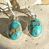 Indian Silver Earrings Sea Jasper blue - model I