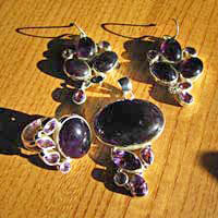 Charming Indian Amethyst Jewelry Set with Ring