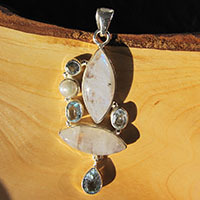 Silver Pendant - Moonstone, Blue Topaz and Pearl