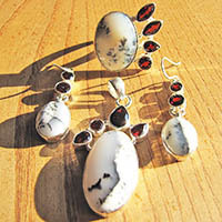 Dendritic Opal - Premium Jewelry Set with Ring Silver