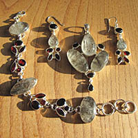 Rutilated Quartz • Garnet Statement Jewelry Set 925 Silver