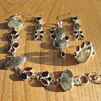 Rutilated Quartz with Garnet • Statement Jewelry 925 Silver