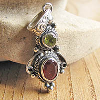 Indian Silver Pendant with Garnet and Peridote 19-1