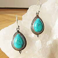 Turquoise Earrings fine ornament - Indian Silver Jewelry