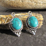 Indian Turquoise Earrings Silver - tasteful Ethnic Jewelry