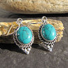 Appealing Indian Turquoise Earrings Silver Ethnic Jewelry
