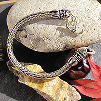 Indian 925 Silver Bracelet braided - Closure Lotus Flower