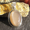 Elegant Indian Pendant Jewelry - Brown Moonstone in Silver