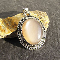 Brown Moonstone Pendant - noble Silver Ornament Ethnic Style