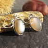 Indian Earrings - Brown Moonstone smooth Silver edging