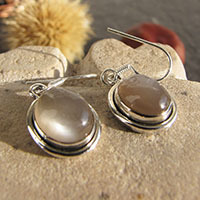 Elegant Indian Earrings - Brown Moonstone in Silver