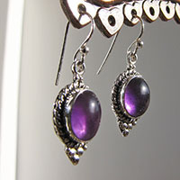 Indian Amethyst Earrings with 925 Silver ornated