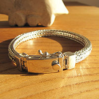 Design Bracelet finely braided Clasp shiny • 925 Silver Jewelry
