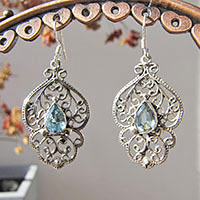 Indian Blue Topaz Earrings - floral 925 Silver Ornament