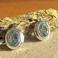 Elegant Blue Topaz Earrings Jewelry shiny Silver Edging