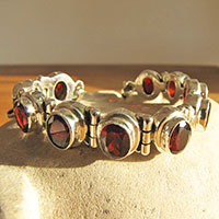 Indian 925 Silver Bracelet with Garnet Gemstones