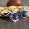 Round Indian Lapis Lazuli Earrings - fine Silver Adornment