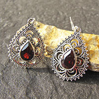 Indian Garnet Earrings - Floral 925 Silver braid