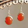 Indian Carnelian Earrings Jewelry - smooth Silver Edging