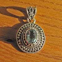 Indian Pendant Blue Topaz - Ethnic Style Silver Jewelry