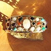 Opulent 3-row Gemstones Bangle Jewelry in 925 Silver