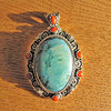 Turquoise and Coral Pendant - Silver Ethnic Jewelry