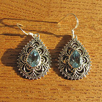 Indian Blue Topaz Earrings - enchanting Silver Ornament