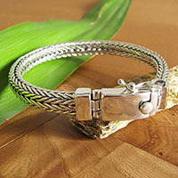 Noble Indian Ethnic Bracelet braided Clasp shiny • 925 Silver