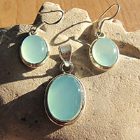Jewelry Set - Oval Chalcedony light blue in 925 Silver