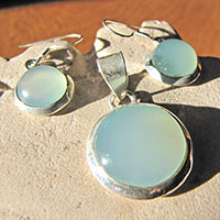 Jewelry Set - Round Chalcedony light blue in 925 Silver