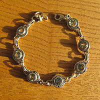 Indian 925 Silver Bracelet Ethnic Style with Blue Topaz
