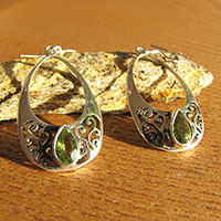 Indian Peridot Earrings Jewelry - Silver Design hoop shape