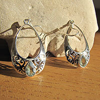 Indian Blue Topaz Earrings Jewelry - Silver Design hoop shape