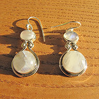 Indian Earrings - Shimmering Moonstone Gems in Silver Design