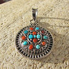 Indian Pendant Turquoise and Coral - Silver Ethnic Jewelry