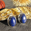 Indian Lapis Lazuli Earrings oval - smooth Silver Border