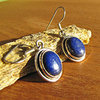 Indian Lapis Lazuli Earrings - delicate 925 Silver Rim
