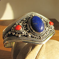 Indian Bangle Lapis Lazuli and Coral • Ethnic Style Silver