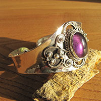 Charming Amethyst Bangle - Indian Silver Jewelry