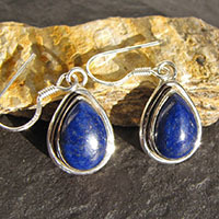 Lapis Lazuli Earrings dainty Silver Rim - Indian Jewelry