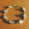 Indian Bracelet Jewelry - Moonstone in dainty Silver Rim