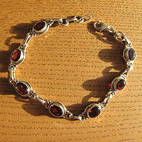 Fine Indian Garnet Bracelet - 925 Silver Sterling Jewelry
