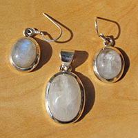 Moonstone Pendant and Earrings - Jewelry Set 925 Silver