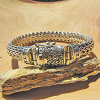 Gorgeous Indian Bracelet • Clasp ornated • 925 Sterling Silver