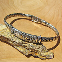 Byzantine 925 Silver Bracelet Ethnic Design • Gold Decor