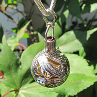 'Harmony Ball' Pendant with Garnet - 925 Silver Jewelry