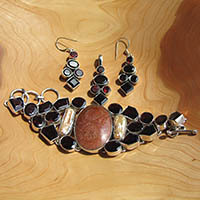 Garnet and Jasper - Indian Premium Jewelry Set 925 Silver