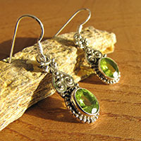 Indian Peridot Earrings in Ethnic Style - 925 Silver